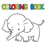 Coloring book of little funny elephant or jumbo Royalty Free Stock Photos
