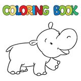Coloring book of little funny hippo Royalty Free Stock Photography