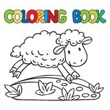 Coloring book of little funny sheep Stock Photo