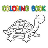 Coloring book of little funny turtle. Coloring book or coloring picture of little funny turtle Royalty Free Stock Image