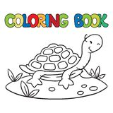 Coloring book of little funny turtle. Coloring book or coloring picture of little funny turtle on the sand near the palm Royalty Free Stock Photos