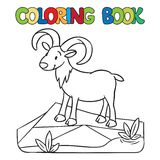Coloring book of little funny urial or ram Stock Photo