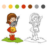Coloring book (little girl with cute cat). Coloring book for children (little girl with cute cat Stock Photography