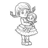 Coloring book. Little girl with a doll. Coloring book for children. Little girl with a doll Royalty Free Stock Photos