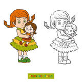 Coloring book. Little girl with a doll Royalty Free Stock Photography