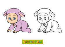 Coloring book. Little girl in a sheep suit Stock Photo