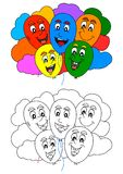 Coloring book for little kids with fun colorful balloons and clouds Royalty Free Stock Photography