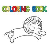 Coloring book of little lion Royalty Free Stock Photo