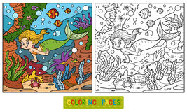 Coloring book: little mermaid and sea world Royalty Free Stock Photography