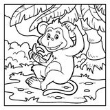 Coloring book: little monkey with a banana Stock Images