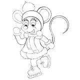 Coloring book the little mouse skates. Cartoon style. Isolated image on white background. Stock Photos
