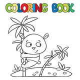 Coloring book of little panda on bamboo Royalty Free Stock Photography