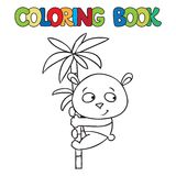Coloring book of little panda on bamboo Stock Images