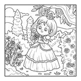 Coloring book, little princess with a flower in the garden Stock Photos