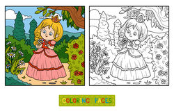 Coloring book, little princess with a flower in the garden Royalty Free Stock Photo