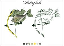 Coloring book with little ruff with a bow. Cartoon vector illust Royalty Free Stock Photography