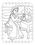 Coloring Book Of Lovely Girl Feeds Doll stock images
