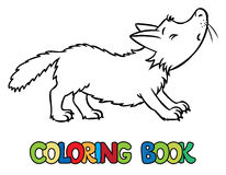 Coloring book of lttle funny wolf Stock Photos