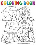 Coloring book lumberjack theme 1 Royalty Free Stock Photography