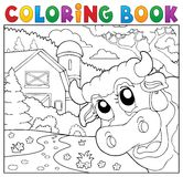 Coloring book lurking cow near farm Royalty Free Stock Image