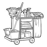 Coloring book, Maid cart. Coloring book for children, Maid cart vector illustration