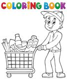 Coloring book man with shopping cart Stock Image