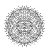 Coloring Book Mandala. Circle lace ornament, round ornamental mandala pattern, black and white design. vector for. Coloring page for adults Stock Photo