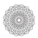 Coloring Book Mandala. Circle lace ornament, round ornamental pattern, black and white design  Royalty Free Stock Photo
