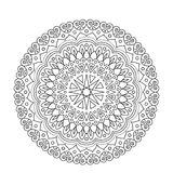 Coloring Book Mandala. Circle lace ornament, round ornamental pattern, black and white design. vector for page adults Royalty Free Stock Images
