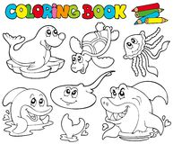 Coloring book with marine animals 1 Royalty Free Stock Image