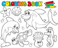 Coloring book with marine animals 2. Illustration Stock Photography