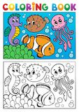 Coloring book with marine animals 4. Vector illustration Royalty Free Stock Photos