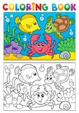 Coloring book with marine animals 5. Vector illustration Royalty Free Stock Photo