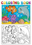 Coloring book with marine animals 6 vector illustration