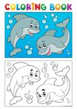 Coloring book with marine animals 7. Vector illustration Royalty Free Stock Images