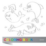 Coloring book - marine life. Coloring book - the marine life Stock Photography