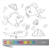 Coloring book - marine life Stock Images