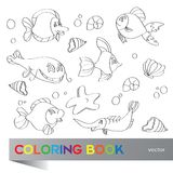 Coloring book - marine life Stock Photos