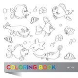 Coloring book - marine life. Coloring book - the marine life Stock Photos