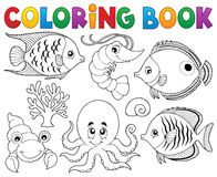 Coloring book marine life theme 2 Stock Image