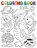 Coloring book mermaid topic 2 Royalty Free Stock Images