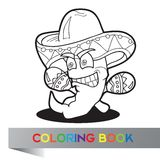 Coloring book with Mexican theme - vector illustration Stock Photos