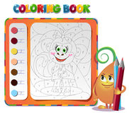 Coloring book about monkey Stock Images