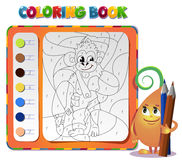 Coloring book about monkey Royalty Free Stock Images