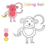 Coloring book monkey kids layout for game Stock Photos