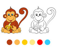 Coloring book monkey, kids layout for game Royalty Free Stock Images