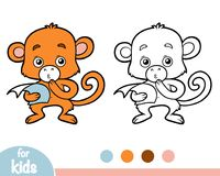 Coloring book, Monkey with a paper. Coloring book for children, Monkey with a paper Royalty Free Stock Photos