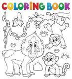 Coloring book monkey theme 4 stock illustration