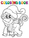 Coloring book monkey in winter clothes Royalty Free Stock Image