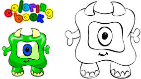 Coloring book monster. Coloring book. Vector illustration of funny green monster Stock Image